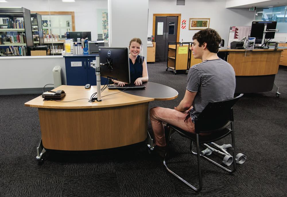 GLO 1600 lowered to the seated position for an appreciative customer, at The University of Auckland Library.
