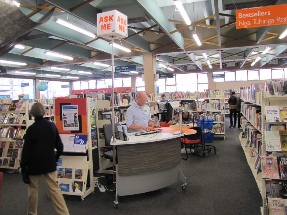 GLO 1600, a height adjustable, issues / help / roaming station, at Bishopsdale Library, Christchurch.