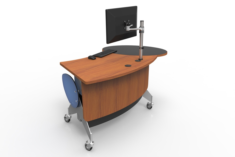 GLO 1600, a height adjustable, issues / help / roaming station, seen in the seated position.