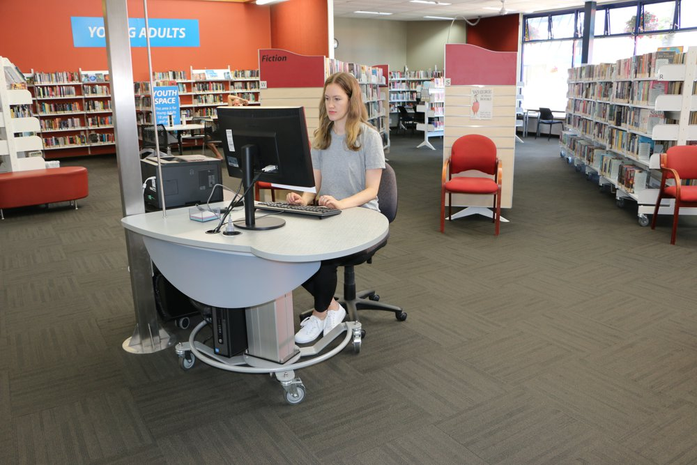 GLO Mini in the seated position, deployed as a help station at at Elma Turner Library, Nelson.