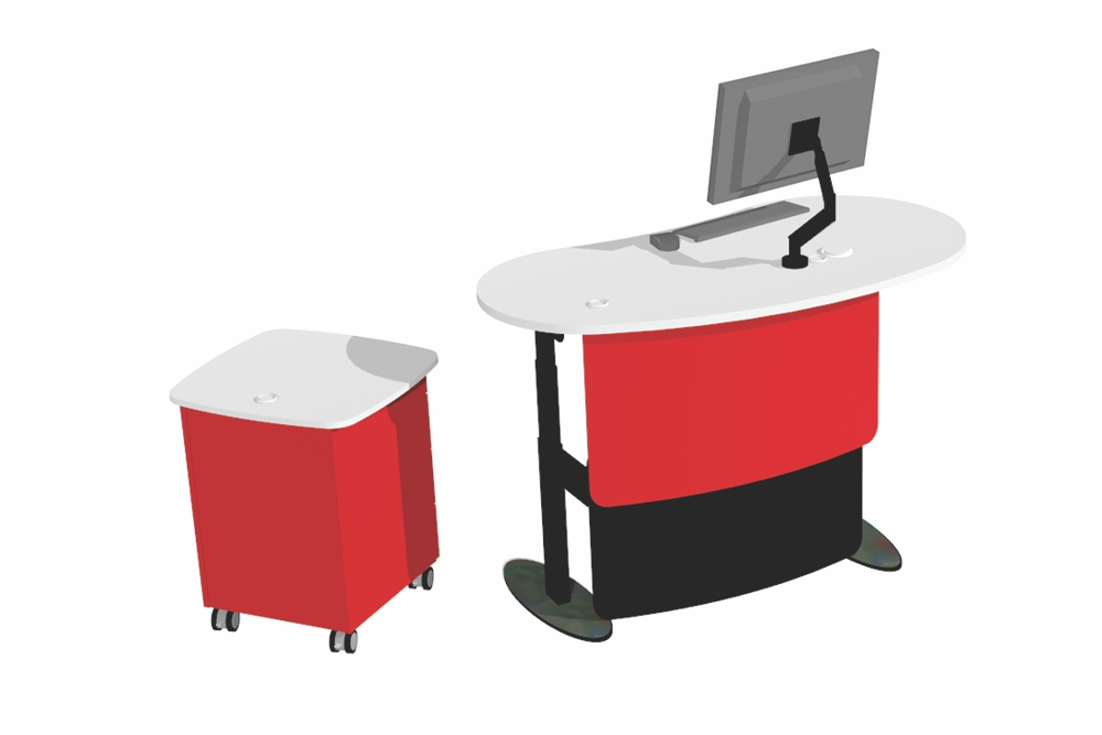 BEAN 1500 Desk in the standing position teamed with Stand Alone Storage Module.