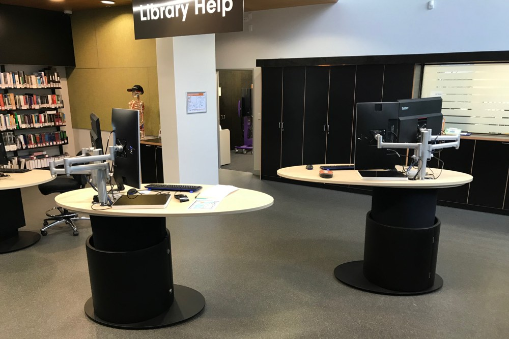 YAKETY YAK 1600s with their eye-catching and interactive oval worktops at Deakin University, VIC.