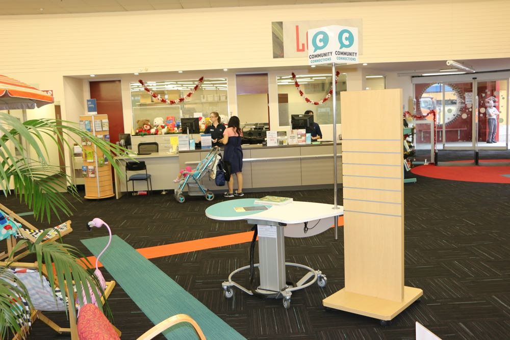 GLO MINI positioned as a greeting / coordination point near the entrance, at Hornsby Library, Hornsby Shire Council, NSW.