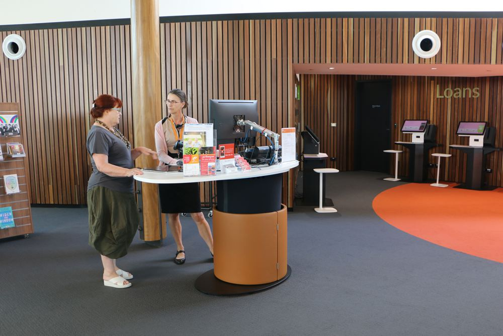 YAKETY YAK Classic Oval 1600, customised to house a cash tray, at Shellharbour Library.