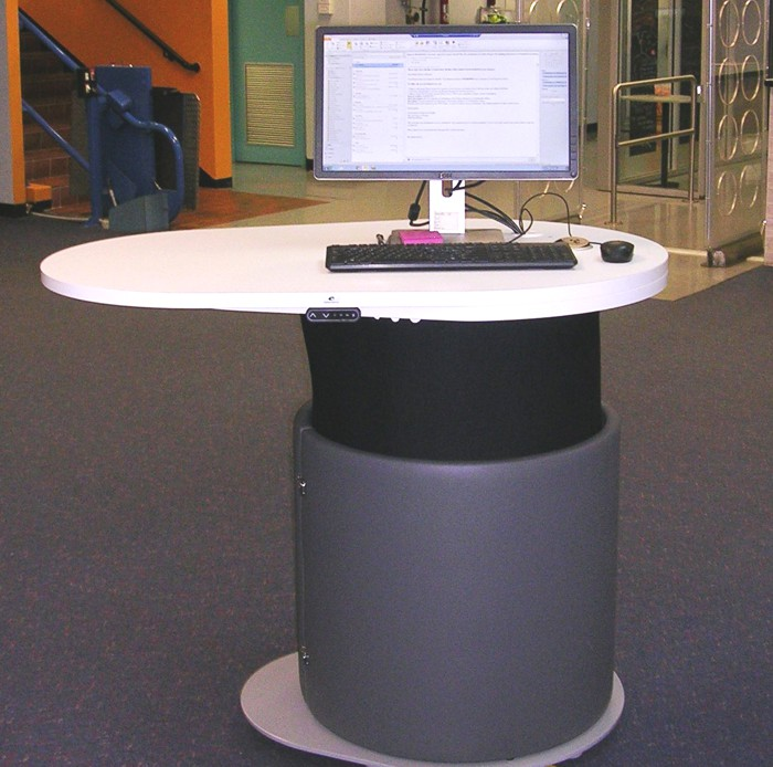 YAKETY YAK 1200 - a height adjustable help / roaming station for libraries.