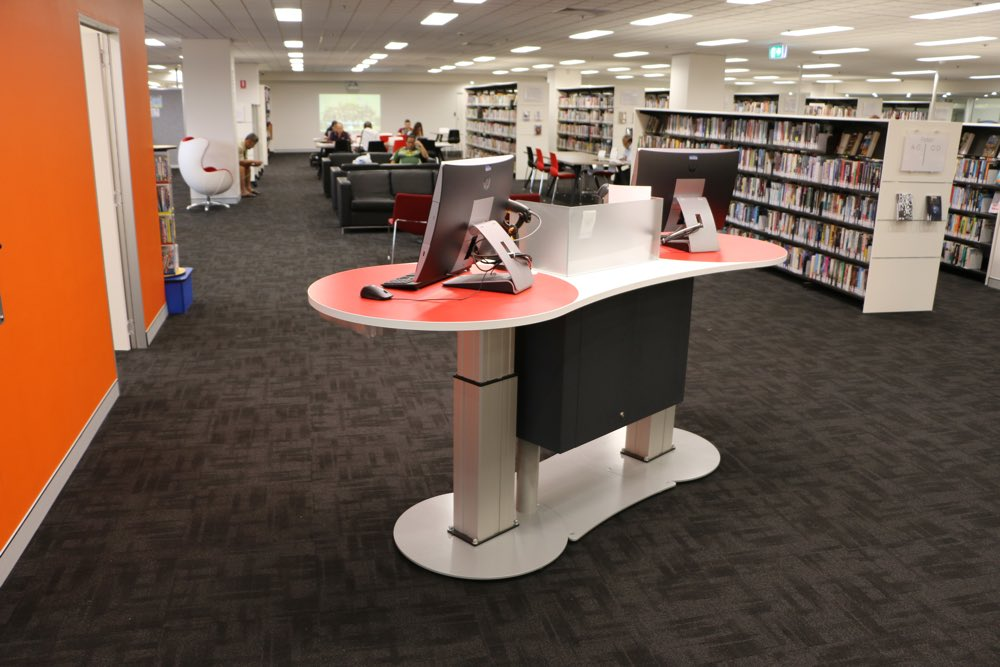 YAKETY YAK Classic 2400 Service Island in the standing position, at Campsie Library, NSW.