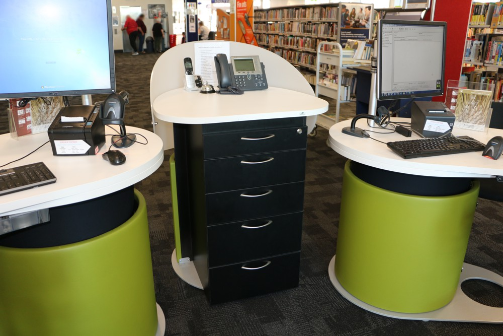 YAKETY YAK Work Module provides a private and central area for storage at Logan City Council's Hyperdome Library, QLD.