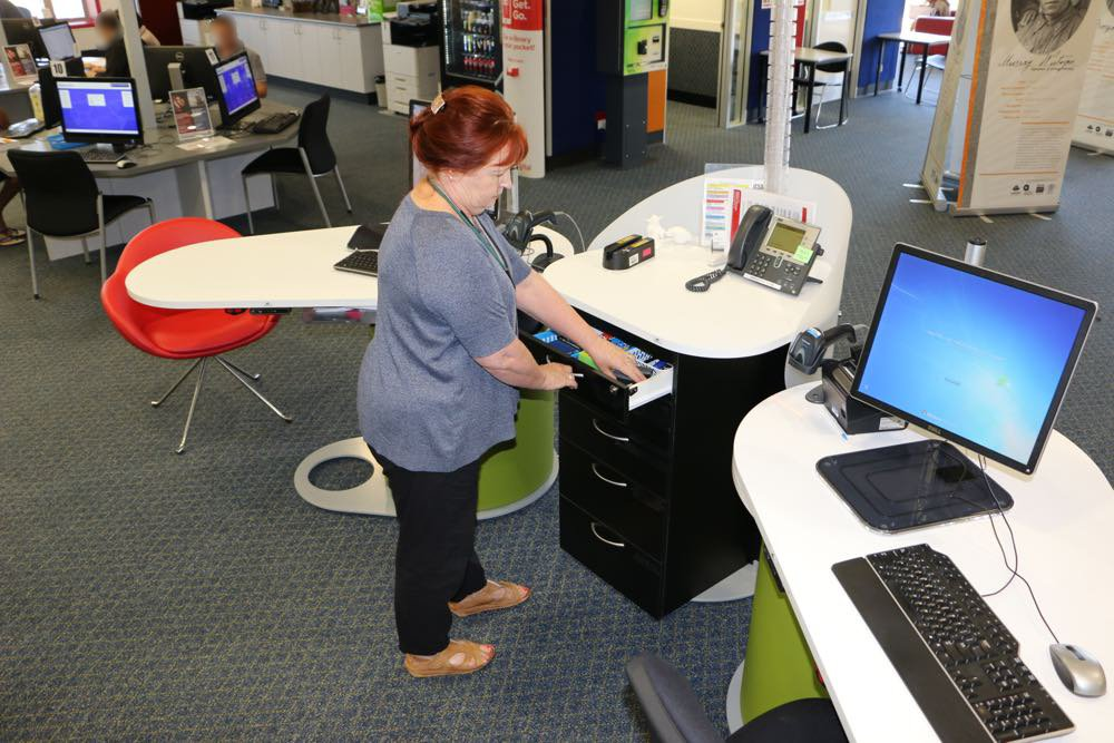 YAKETY YAK Work Module with five handy drawers, frees pods of any clutter, at Logan City Council's North Library, QLD.
