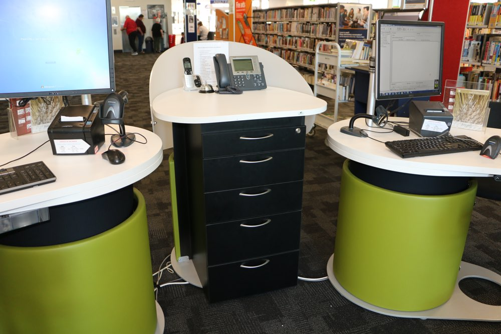 YAKETY YAK 1500s and YAKETY YAK Work Module with five locking drawers, at Hyperdome Library.