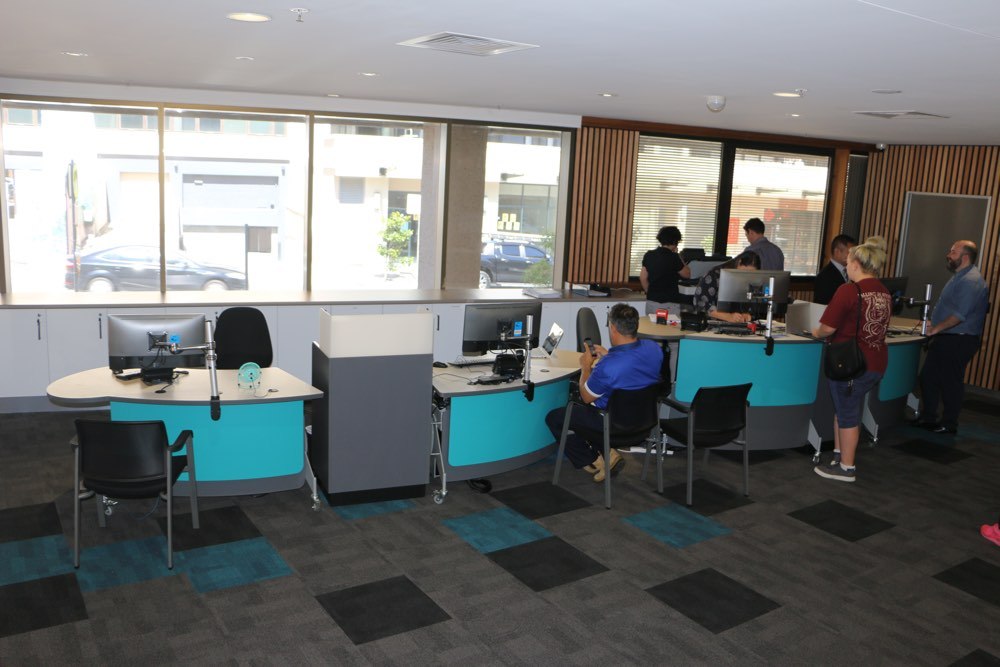 Four GLO 1600's in seated and standing positions with our Cash / Eftpos Modules in between, at Georges River Civic Centre.