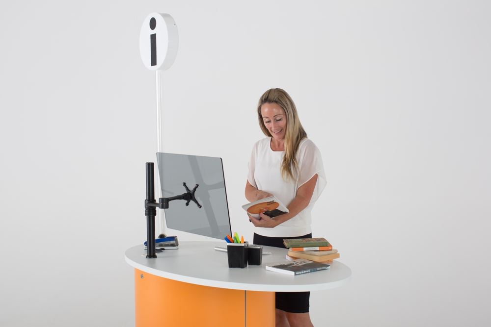 Adapt your workspace to meet the task with height adjustable YAKETY YAK Nova Oval 1400 desk.