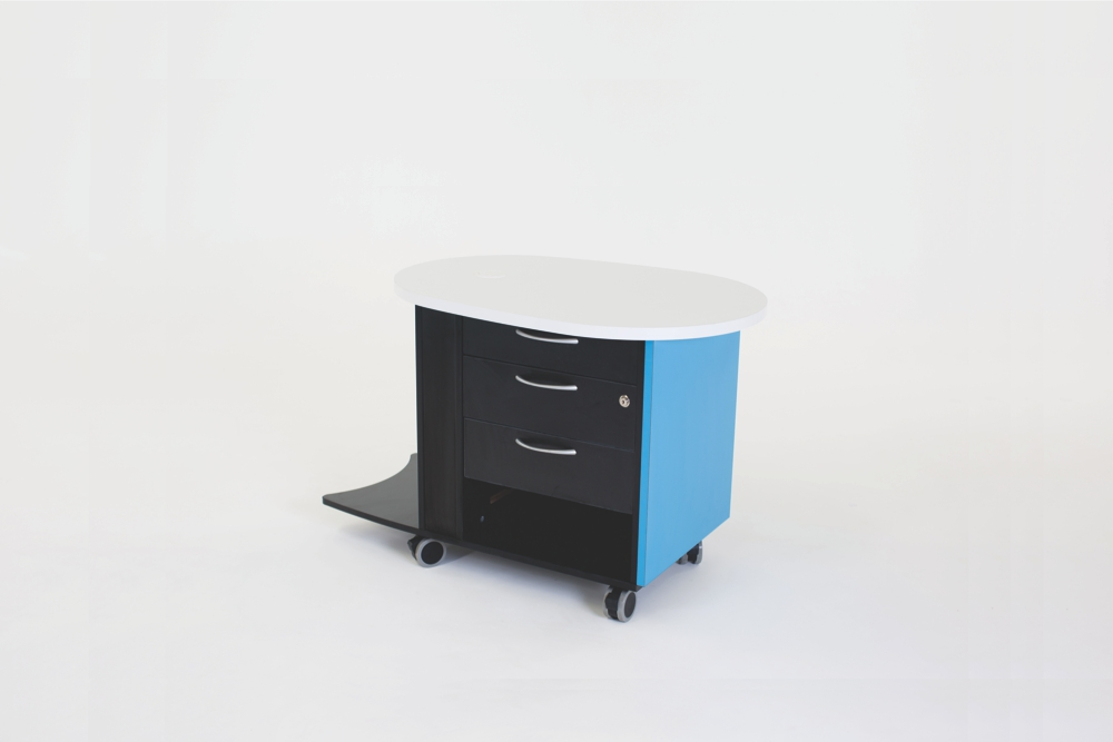 YAKETY YAK Nova Support Caddy provides three draws and one open shelf for storage.