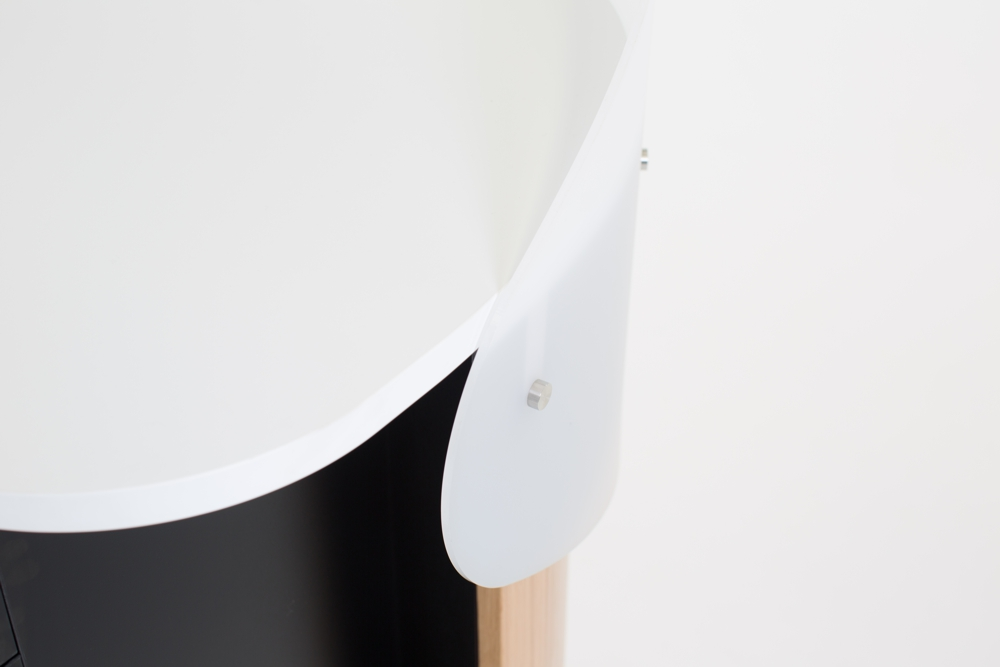 An acrylic cowling adds privacy to your workspace.