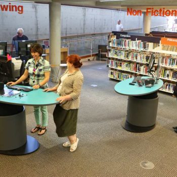 YAKETY YAK Classic Oval 1600 Pods form a dynamic circulation area at Mona Vale Library, Northern Beaches.